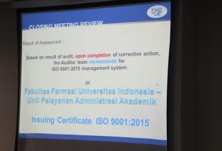 Pelayanan Akademik Fakultas Farmasi UI Mendapatkan Sertifikasi ISO 9001:2015