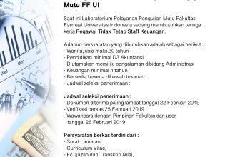 Open Recruitment Pegawai Tidak Tetap Staff Keuangan Laboratorium Pelayanan Pengujian Mutu FF UI