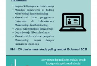 Lowongan Pegawai Tidak Tetap Laboran Mikrobiologi dan Bioteknologi